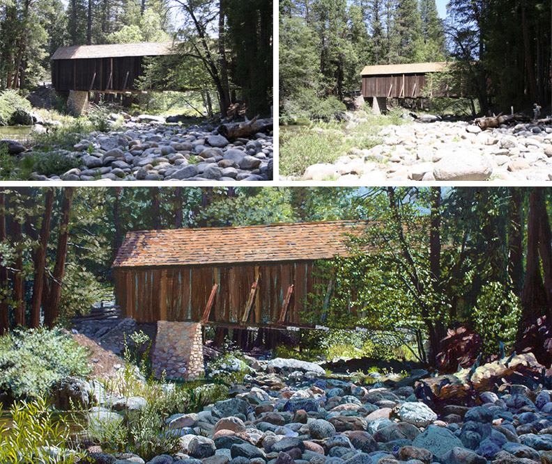 Painting & Photos of Wawona Covered Bridge